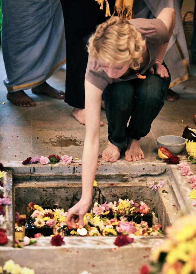 Devotee making offerings.