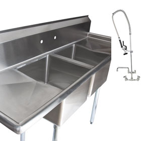 Double Sink with Drainboards and Overhead Spray Washer