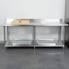 "Two 30"" Deep Stainless Steel Prep Tables"