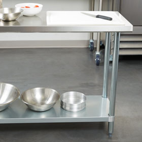 Two 18 inch Deep Stainless Steel Prep Tables